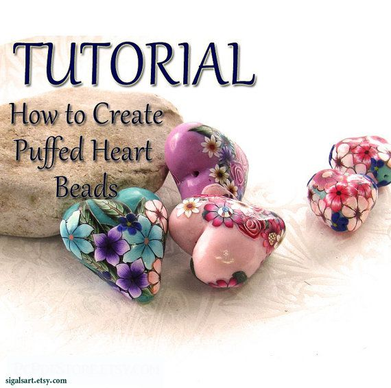 Polymer Clay PDF tutorial Puffed Heart beads. di sigalsart