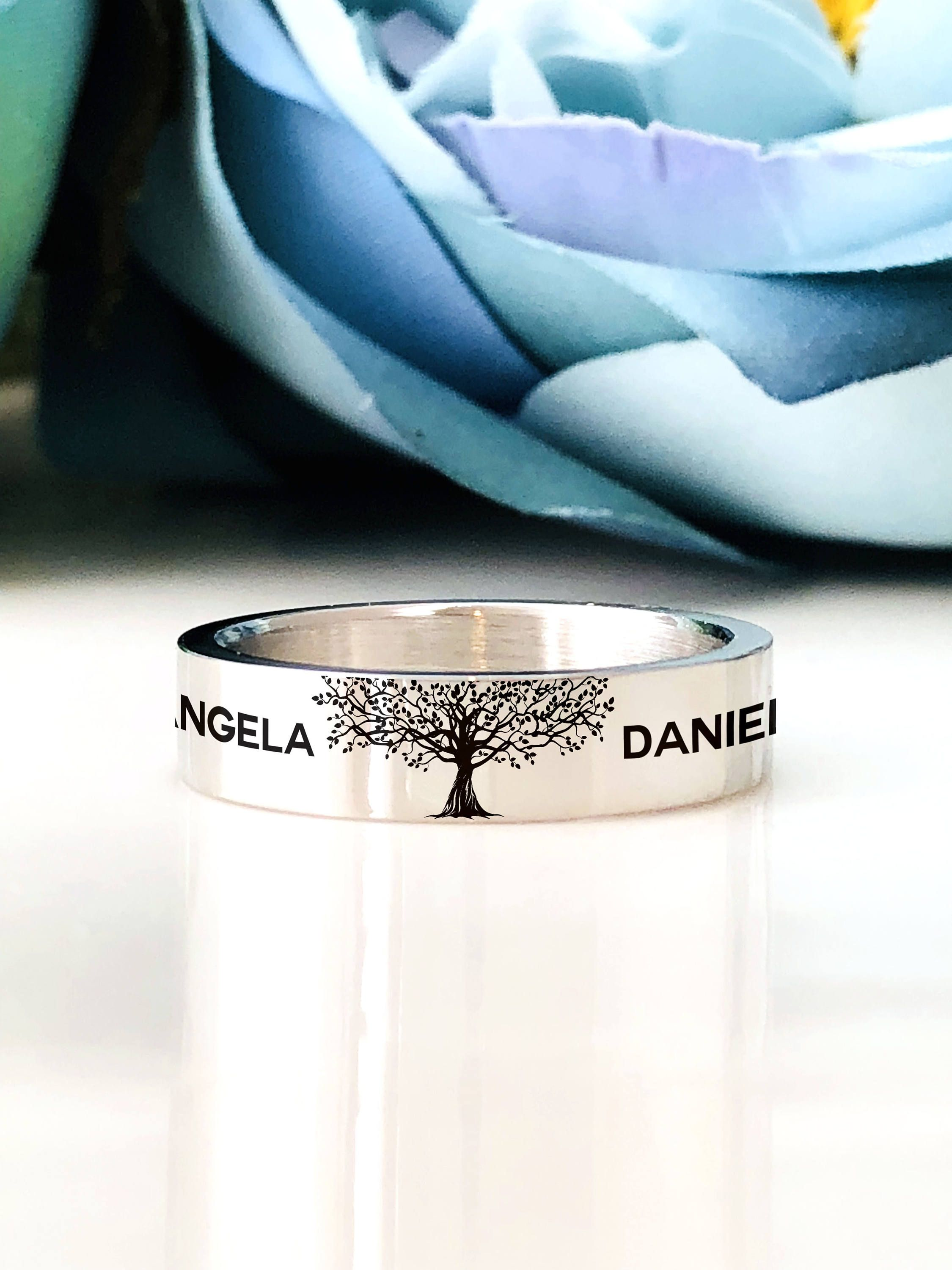 Stainless Steel 5mm Band Ring Family Tree Ring Custom Personalized Engraved Ring Engraving Inside Sold Separately Cute Anniversary Gifts Engraved Rings Anniversary Gifts For Husband