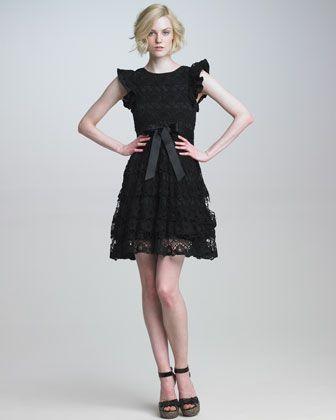 Valentino Ruffle-Sleeve Lace Dress