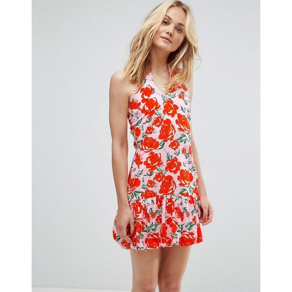 ASOS Mini Haltnerneck Bodycon Dress WithBubble Hem In Red Floral ...
