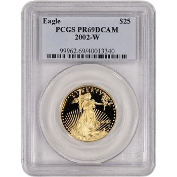 2002 W American Gold Eagle Proof 1 2 Oz 25 Pcgs Pr69 Dcam Gold Eagle American Eagle Gold Coin Gold Bullion Coins