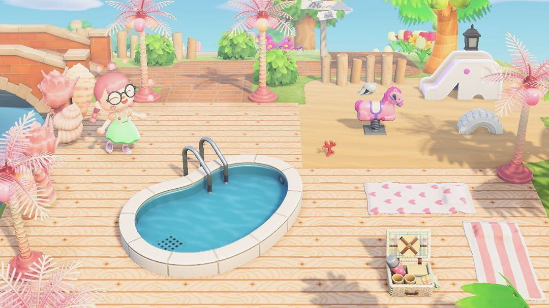 Nena On Instagram Pool Partyyy I Looove The Palm Tree Lamps And I Find It So A In 2020 New Animal Crossing Animal Crossing Game Animal Crossing