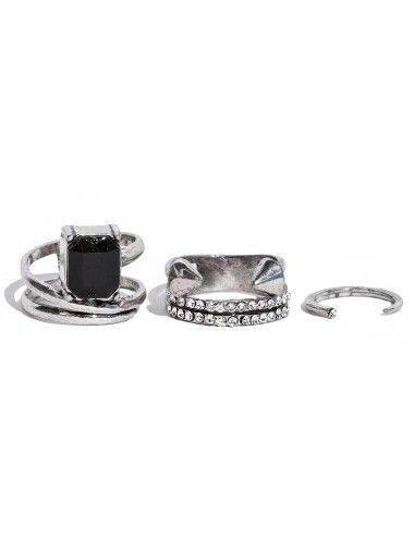 Set of three adjustable rings featuring a black stone ring, small diamond ring and silver nail ring band. Open Sizing.