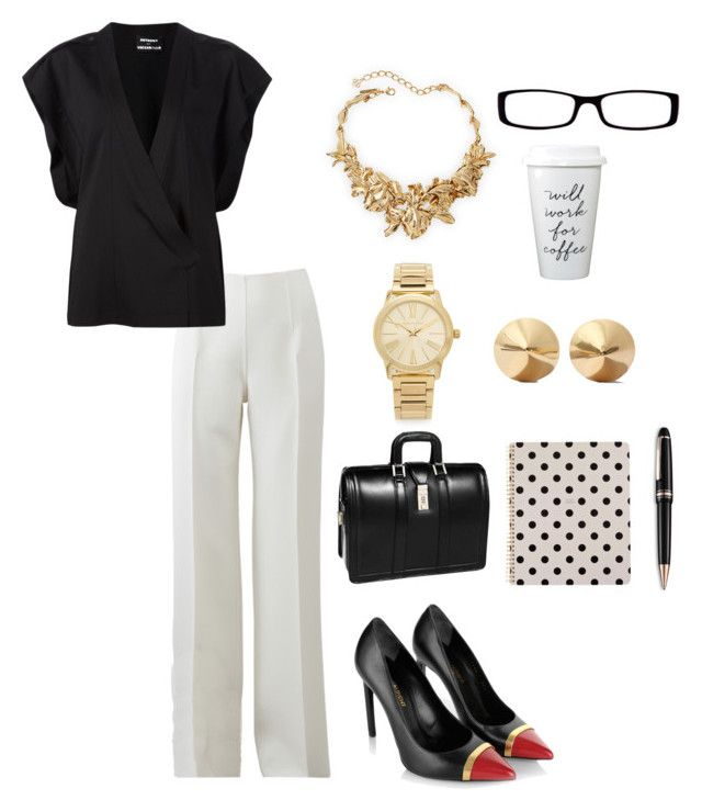 """Boss"" by hollyharris1414 on Polyvore featuring Michael Kors, Anthony Vaccarello, Yves Saint Laurent, McKleinUSA, Kate Spade, Montblanc, Eddie Borgo, Oscar de la Renta and Chico's"