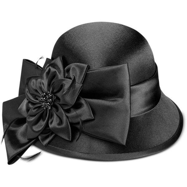 eebfee584d4 August Hats Satin Flower Dress Cloche featuring polyvore women s fashion accessories  hats black feather hat satin hat cloche hat beaded cloche hat august ...