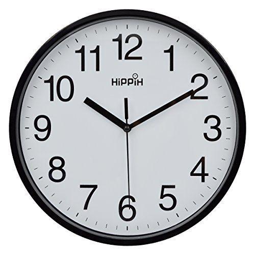 Hippih 10 Silent Quartz Decorative Wall Clock With Glass Cover Non Ticking Digital Black Black Wall Clock Wall Clock Silent Clock Wall Decor