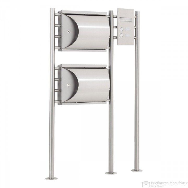 2er edelstahl standbriefkasten albert 690789 mit zeitungsfach klingel sprechanlage. Black Bedroom Furniture Sets. Home Design Ideas