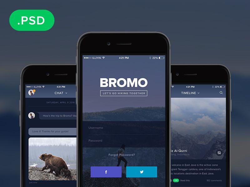 Bromo Free Social Mobile App Template Psd Mobile App Design Templates Mobile App Templates App Template