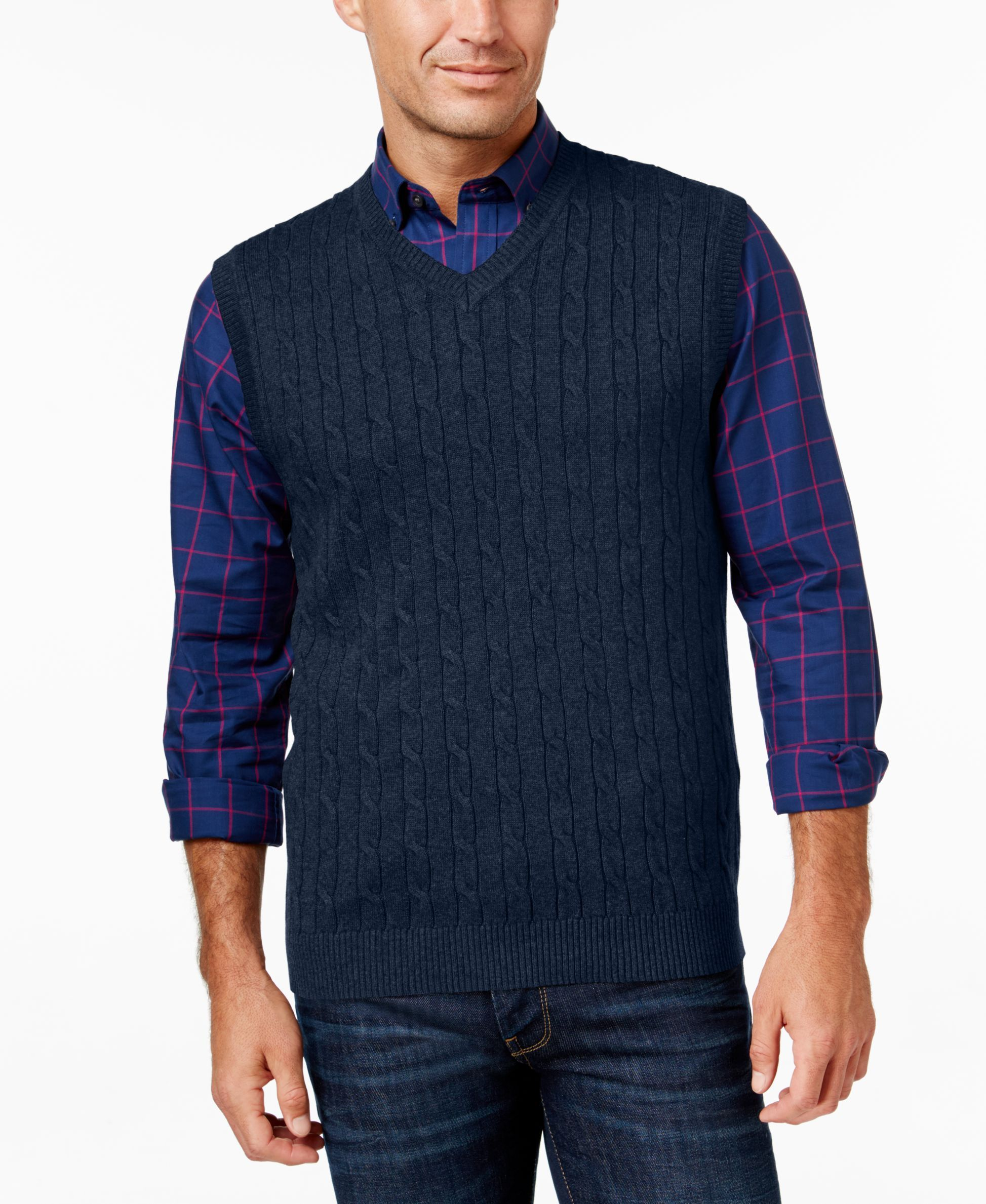 Club Room Men's Cable-Knit Sweater Vest, Only at Macy's ...