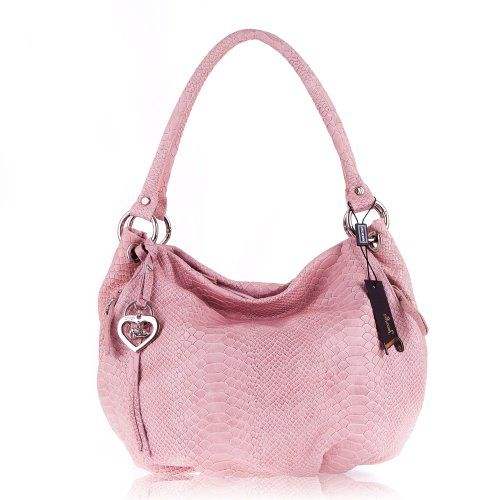 JENRIGO Italian Designer Python Embossed Light Pink Leather Hobo ...