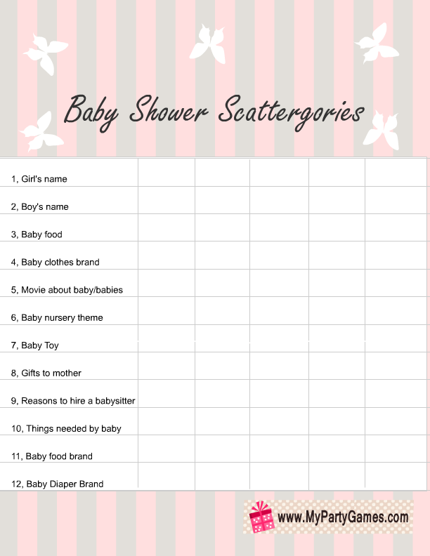 4d0dbf4f3264f Baby Shower Scattergories Game List in Pink Color | Free Printable ...