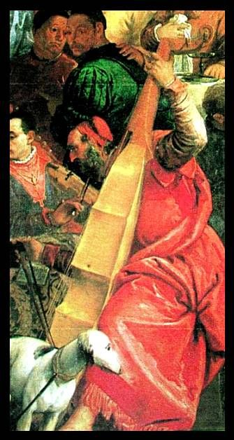 Paolo Veronese, Italian, detail from Wedding Feast at Cana, c.1560. Large bass viol played kneeling.