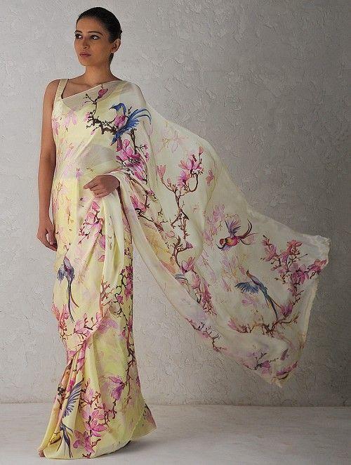 Buy Cream Pink Digital Printed Georgette Satin Saree With Parsi Gara