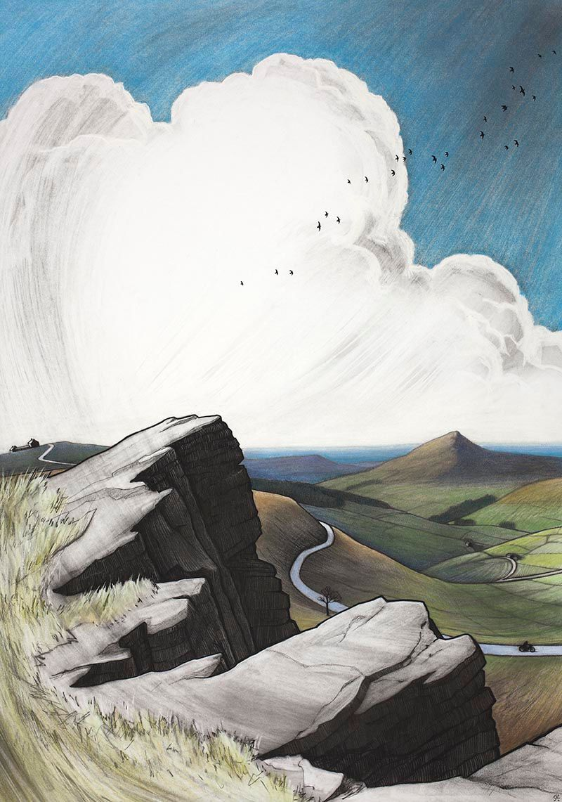 Coloured charcoal and pastel landscape drawing of the rocky summit of shining tor in the peak district the crag overlooks the cat and fiddle inn the