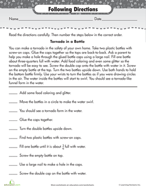 Printables Middle School Comprehension Worksheets reading for comprehension following directions bottle free worksheets help kids develop skills and fluency regardless of level download and