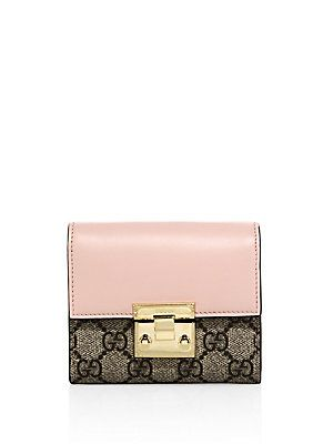8803332454fe Gucci Padlock GG Supreme Leather French Flap Wallet - Perfect Pink ...