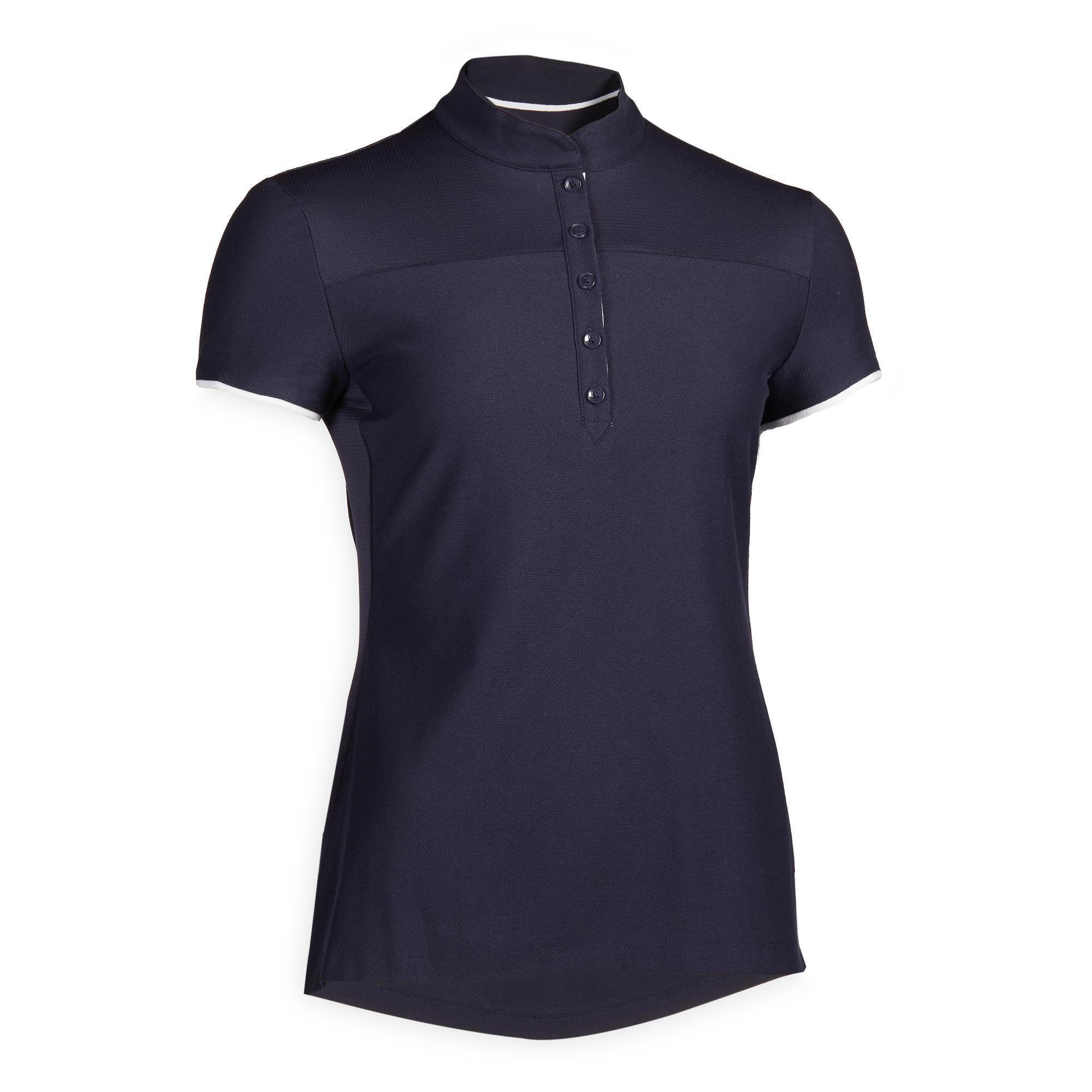 Reit-Poloshirt kurzarm 500 Damen marineblau