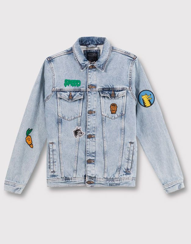 Pull&Bear man new products patch denim jacket navy