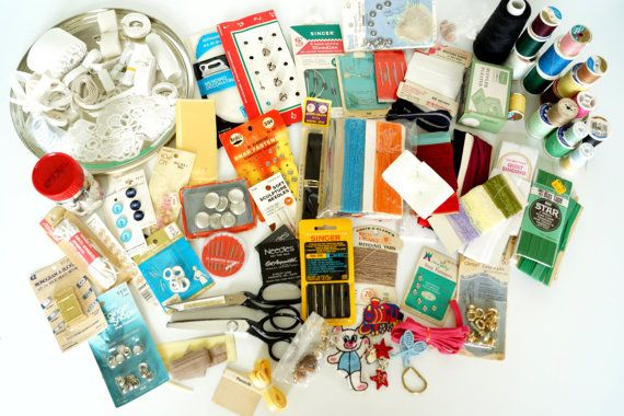 Vintage Sewing Notions and Supplies in Large Tin 48 by ThirdShift, $125.00