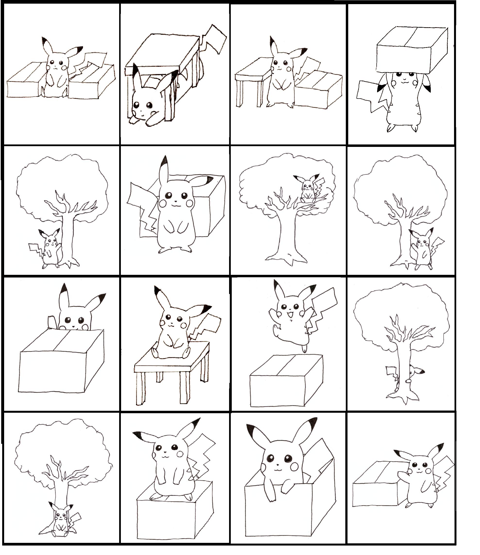Pikachu Bingo Practicing Prepositions Board 3 Of 4 Made