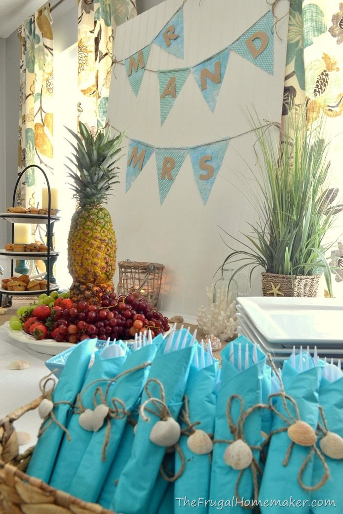 bridal brunch at the beach beach themed wedding shower party ideas rh pinterest com Beach Theme Wedding Cakes Beach Wedding Table Arrangements