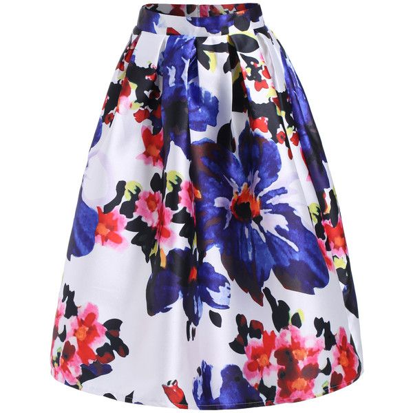 SheIn(sheinside) Multicolor Floral Flare Midi Skirt (72.300 COP) ❤ liked on Polyvore featuring skirts, bottoms, sheinside, multi, floral knee length skirt, blue midi skirt, floral print skirt, floral flare skirt and knee length skirts