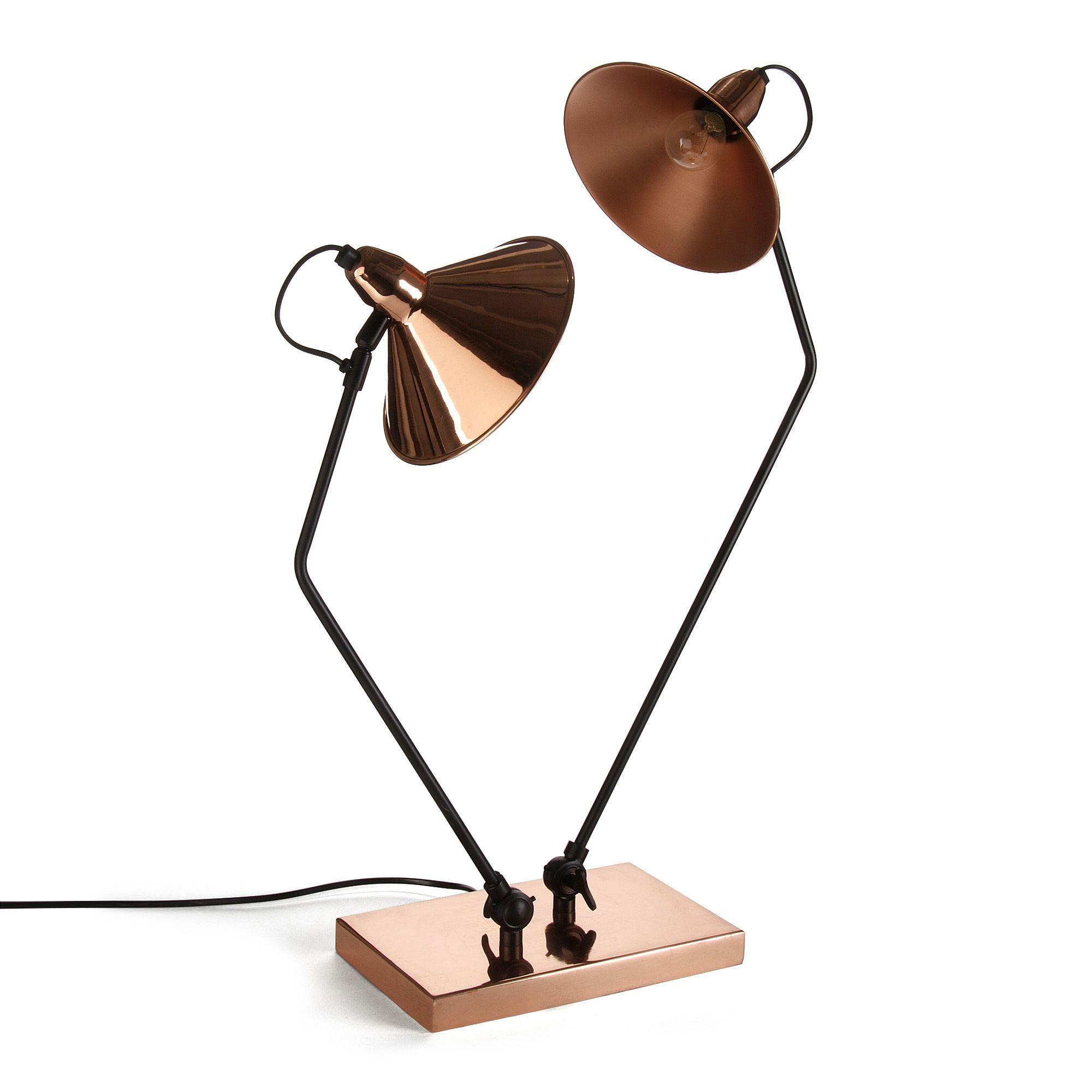 Lampe en cuivre 2 lumi¨res H74cm Cuivre Noir Tween Les lampes