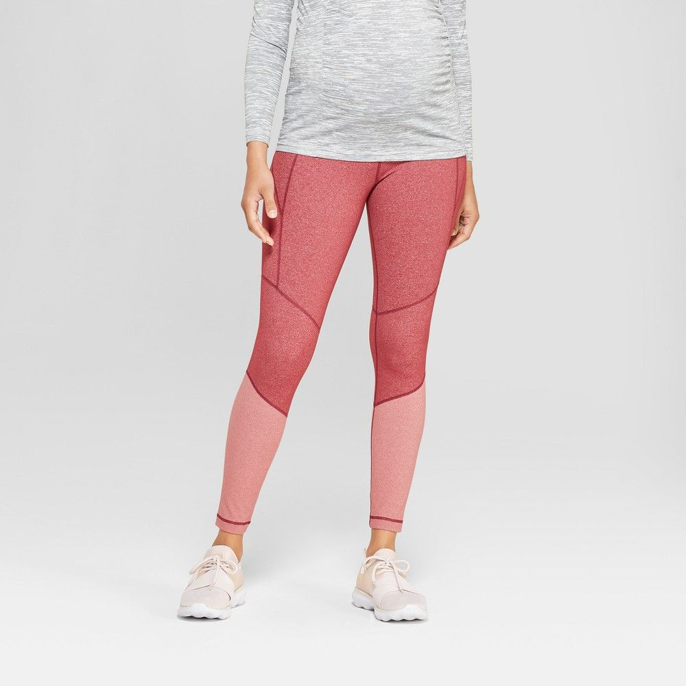 61d836b733111 Maternity Colorblock Active Leggings with Crossover Panel - Isabel Maternity  by Ingrid & Isabel Pink Heather Combo XL, Women's