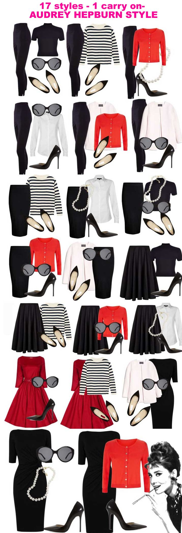 17 Styles With Only 10 Pieces It S Classic And Never Out Of Date Audrey Hepburn I Love Black And White Audrey Hepburn Style Outfits Fashion Capsule Fashion