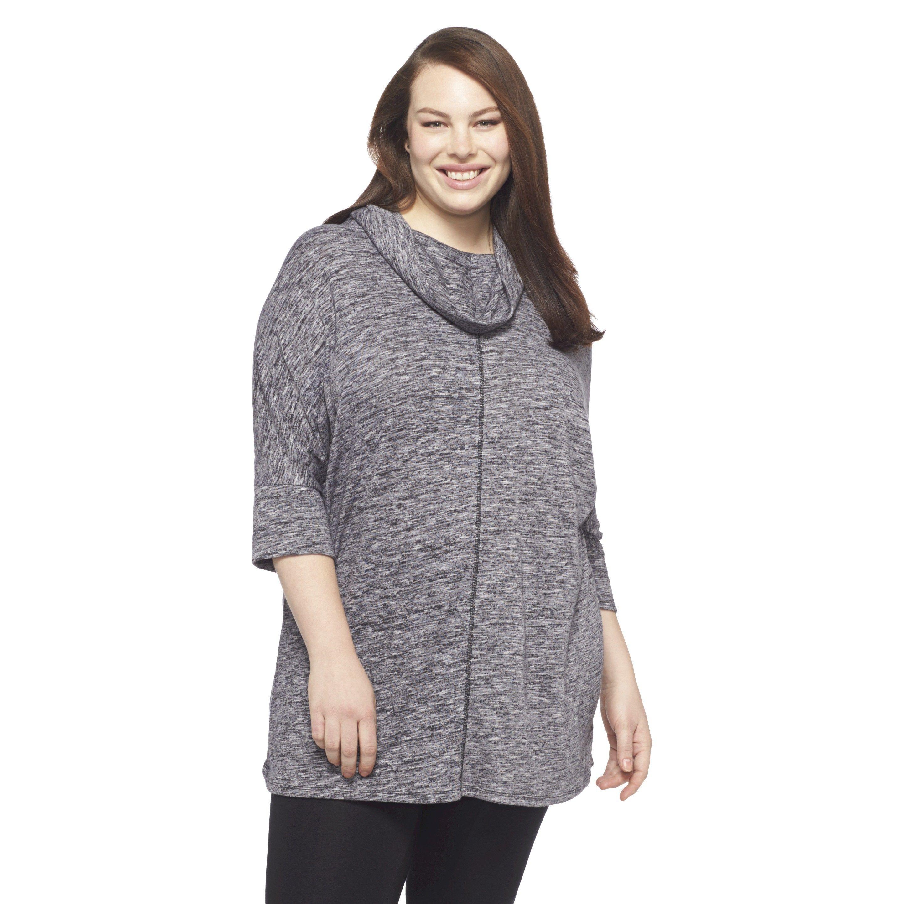 Women's Plus Size 3/4 Sleeve Cowlneck Top Black-Ava & Viv