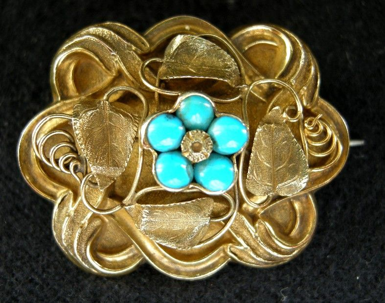 "An Early Victorian Gold & Turquoise ""Forget Me Not "" Brooch, Circa from simonmillard on Ruby Lane"
