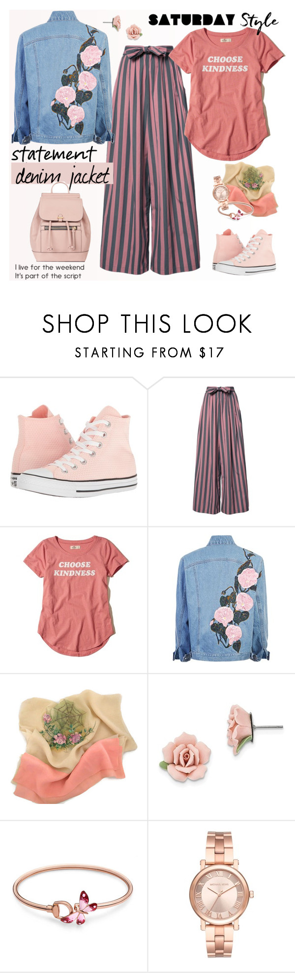 """Statement Denim Jacket"" by ellie366 ❤ liked on Polyvore featuring Converse, Tome, Hollister Co., 1928, Gucci, Michael Kors, Accessorize, casual, denimjacket and widelegpants"