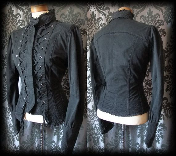 Gothic Black Double Lace Up Fitted CONCUBINE by AusterexxDevotion, £49.00