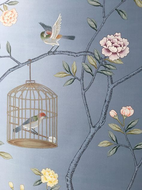Chinoiserie handpainted wallpaper in sky blue silk, 3 by 7