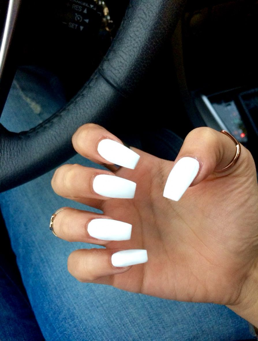 Medium Long Coffin Acrylic Nails White Prom Nails Are The