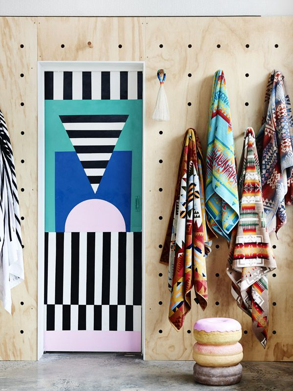 Interior details from the newThird Drawer Downstore in Greville st, Prahran. Artwork byCamille Walala. Photo -Eve Wilson.