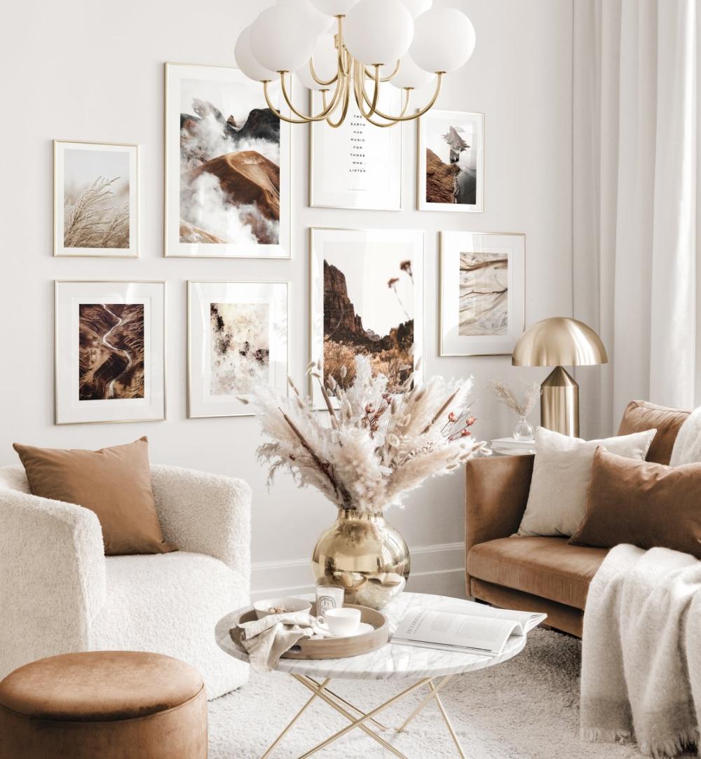 Décoration murale harmonieuse salon beige poster nature abstrait