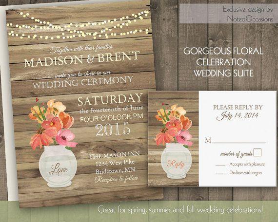 Floral Wedding Invitation Rustic Glass Jar Country