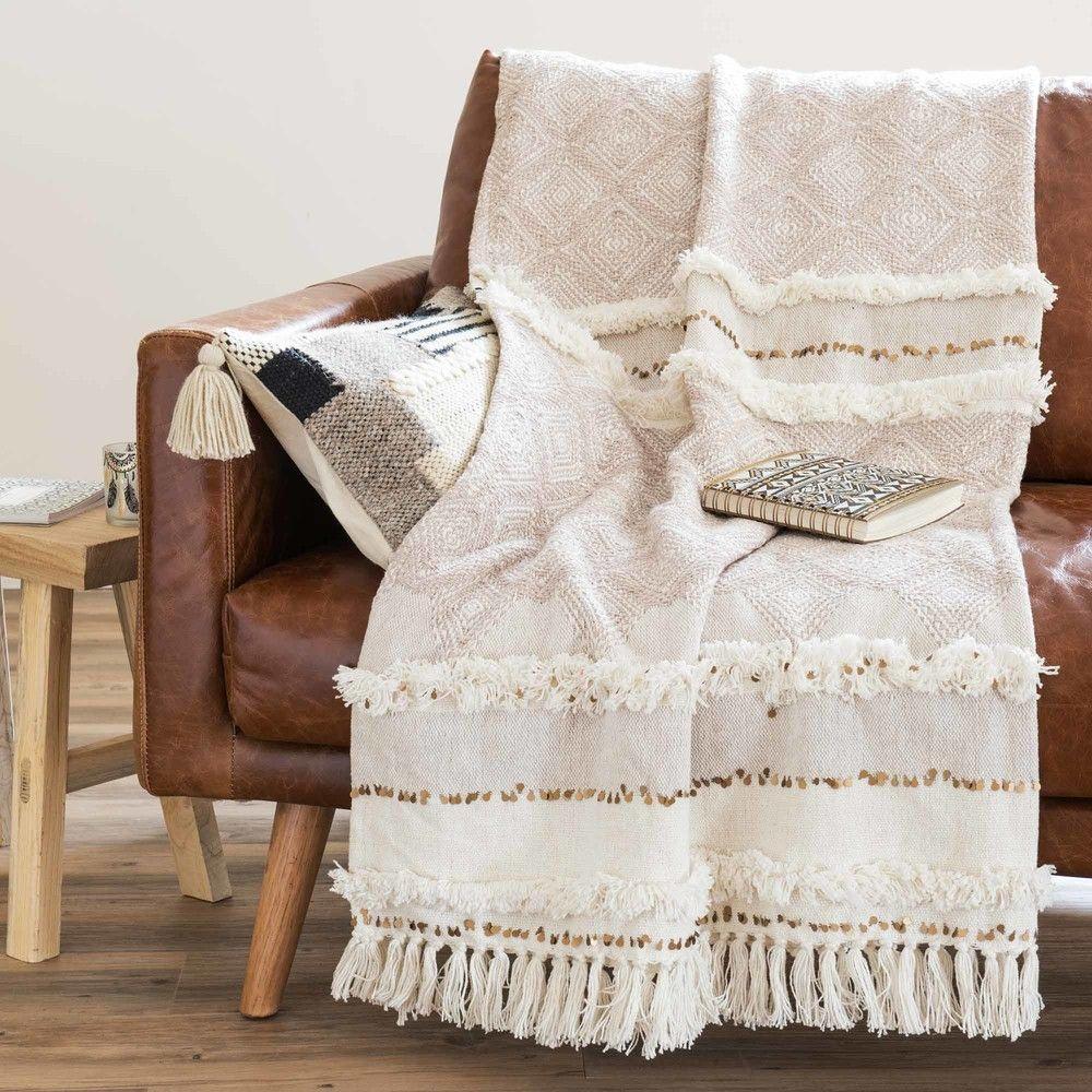Jeté berbère en coton beige 160x210 | Ma chambre cosy parfaite ...