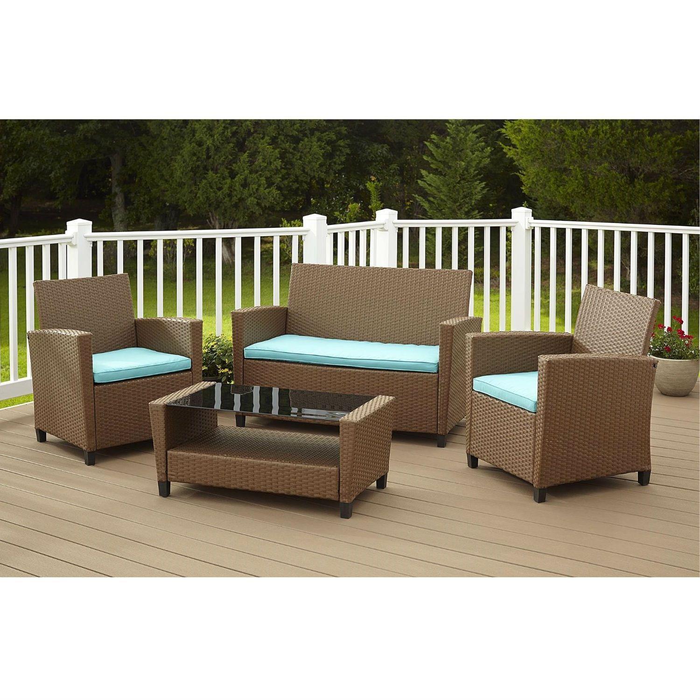 4Piece Outdoor Patio Furniture Set in Brown Resin Wicker