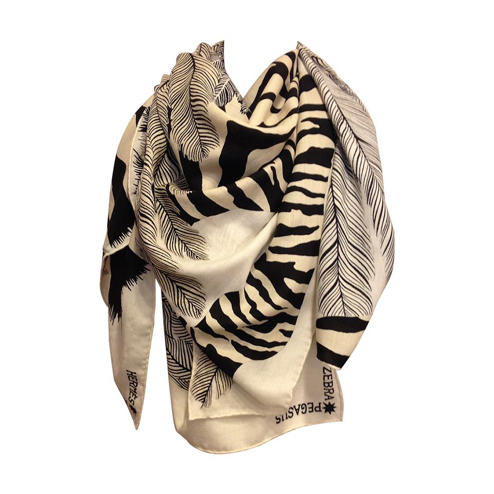 Hermes Black and White Zebra Scarf | From a collection of rare vintage scarves at https://www.1stdibs.com/fashion/accessories/scarves/