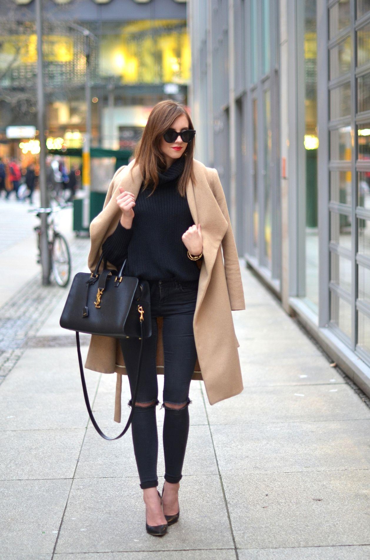 ef170878af33 American Apparel turtle neck Topshop jeans Mango coat Jimmy Choo heels  Saint Laurent bag http