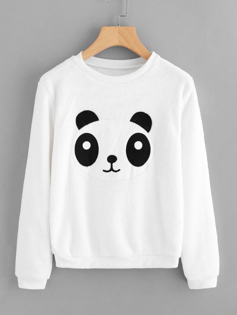 Panda Applique Front Sweatshirt   Proyectos de costura :D