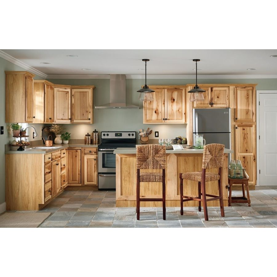 Diamond Now Denver 24 In W X 35 In H X 23 75 In D Natural Drawer Base Stock Cabinet Lowes Com Stock Cabinets Hickory Kitchen Cabinets Hickory Kitchen