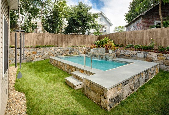 Small inground swimming pool small swimming pools for for Pictures of swimming pools in backyards