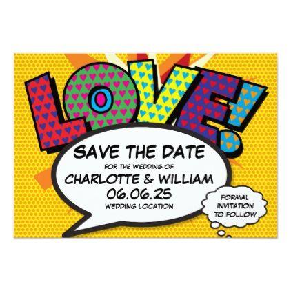 Comic Book Pop Art Wedding Love Save The Date Card