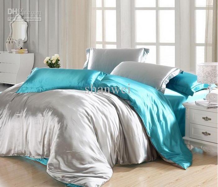quality solid color blue and grey printed silk tencel bedding set ... : solid color quilt sets - Adamdwight.com