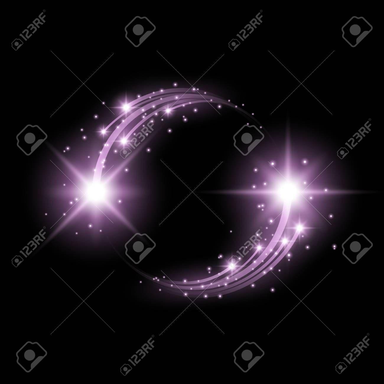 Glittering star dust circle of lights stars on black background