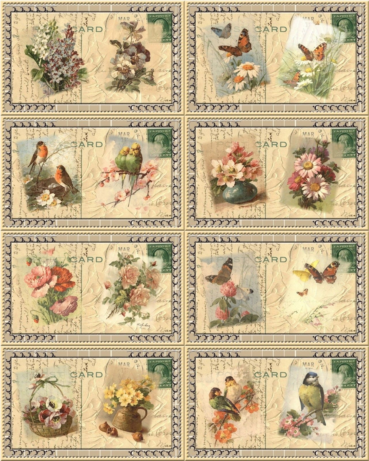 Vintage Bird and Floral Post Card Hang Gift Tags