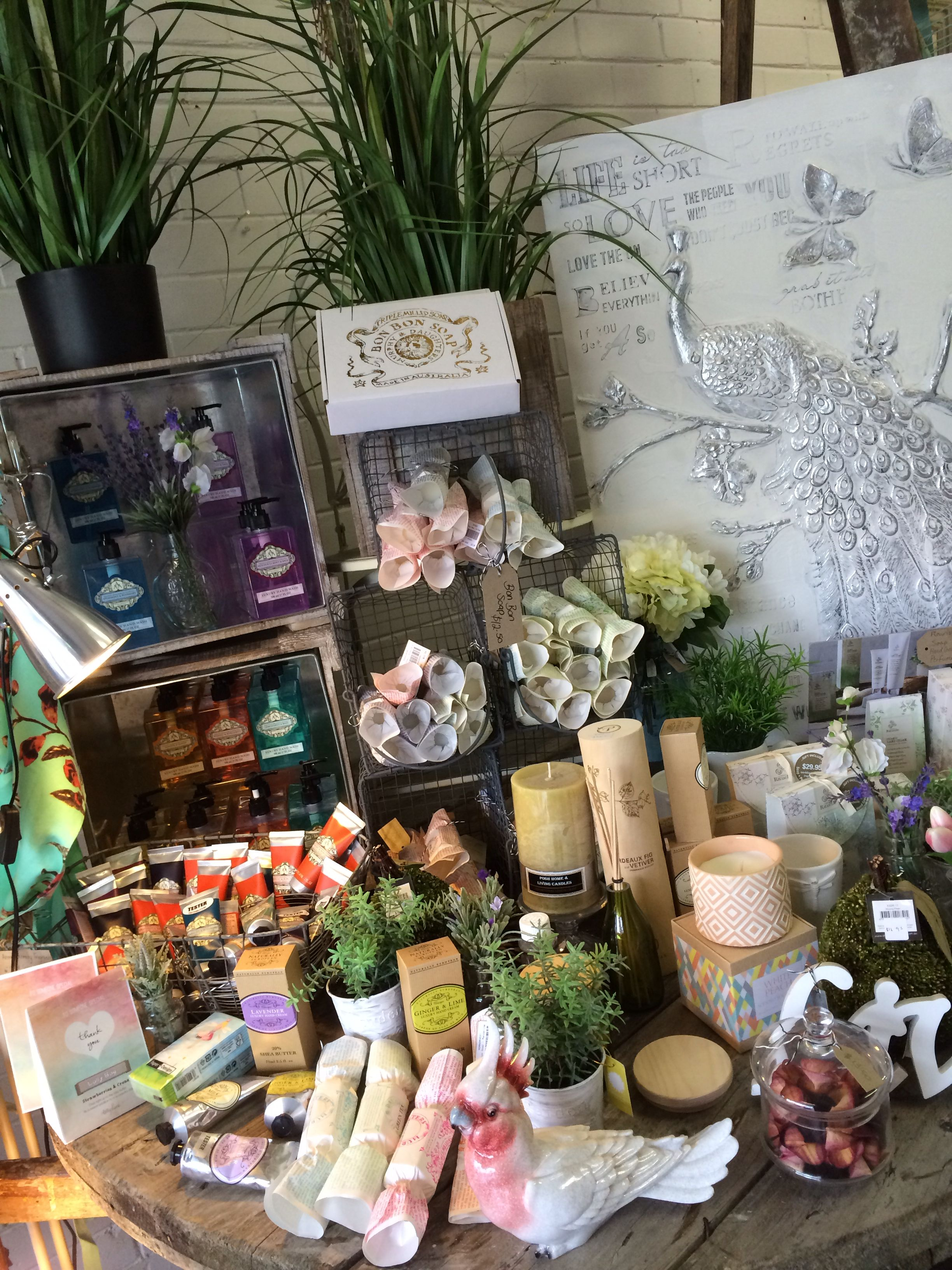 Shop display Lavish Abode soaps, creams and candles